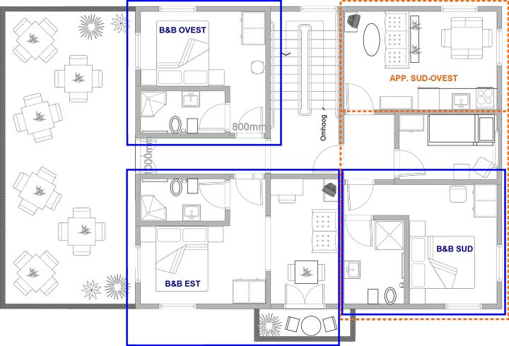 bed & breakfast plattegrond